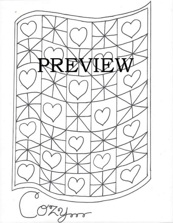 Printable Cozy Quilt Easy Coloring Pages for