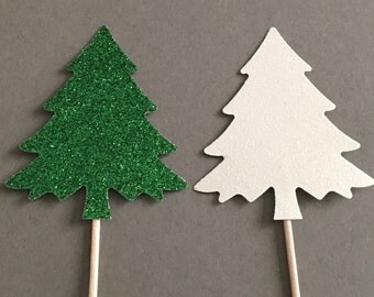 12 Tree Cupcake Toppers Glitter Cupcake Toppers Birthday Cupcake Toppers Shower Cupcake Toppers Holiday Cupcake Toppers