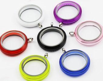 50% off 30mm Acrylic floating locket, Memory Locket, Acrylic Lockets, 7 Colors for Pick