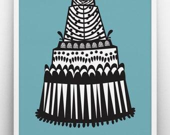 Cake print, blue poster, inspirational, typographic print, scandinavian design, graphic print