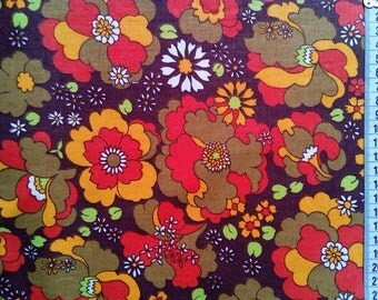 retro fabric by the yard, vintage fabric, craft fabric retro, floral fabric, big prints, textile, vintage remnant, fabric remnants, crafts