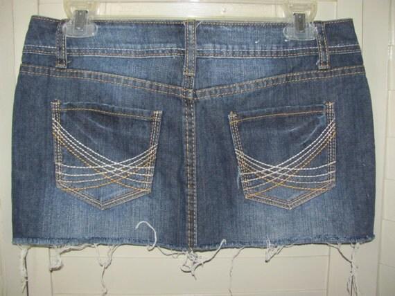 size 5 micro mini denim blue jean skirt excellent condition