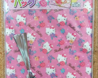 15 Pcs - Hello Kitty Gift Bags Plastic Bags PET Bags with Wire for Party
