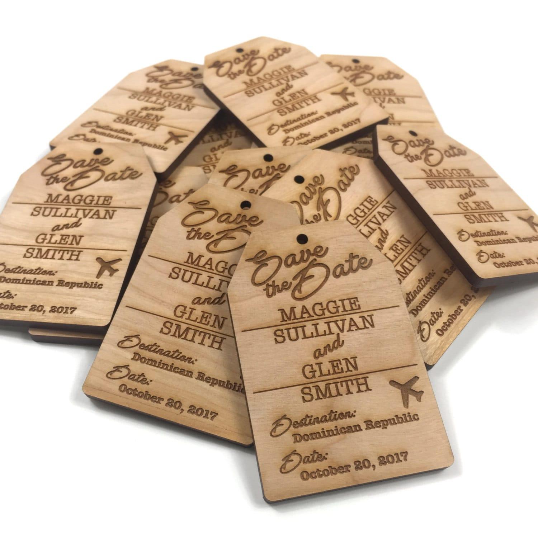 Custom Save The Date Luggage Tag Destination Wedding Wood