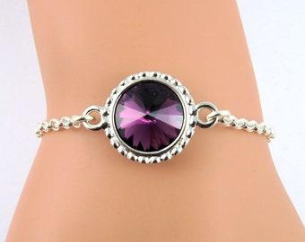 Purple Amethyst Bracelet, February Birthstone Bracelet, Amethyst Crystal Bracelet, Purple Bracelet, Amethyst Jewelry, Swarovski Crystals