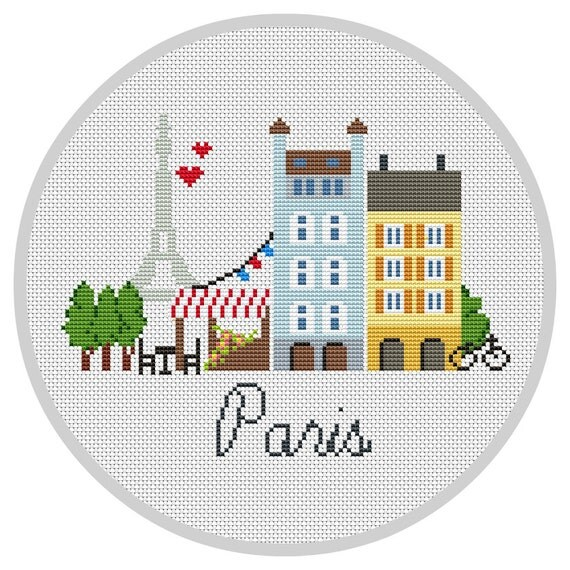 Paris cross stitch pattern modern pdf