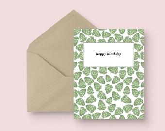 Birthday Greeting Card - Hoppy Birthday - Happy Birthday Card - Illustrated Greeting Card - Craft Beer Birthday Card - Unique Birthday Card