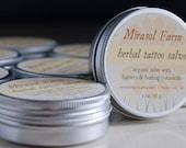 Organic Herbal Tattoo Salve, unscented healing salve (1.6 ounces)