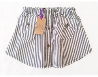 Blue Pinstripe Up-cycled Children's Skirt