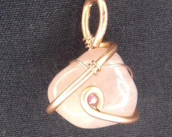 Rose Quartz with Ruby Copper Pendant