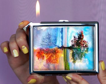 Chrome Finished Lighter, Cigarette case, Four Seasons Tree, lighter