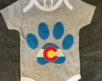 Colorado Dog Paw Print Onesie