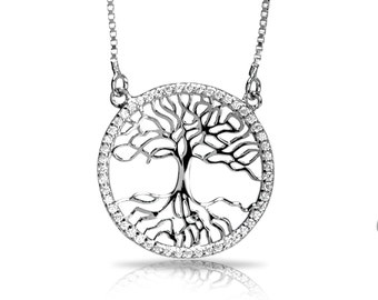 925 Sterling Silver Tree of Life Necklace Charm with White CZ Stones
