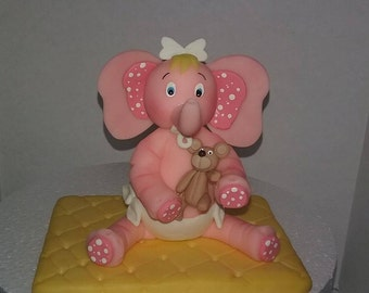 Pink Baby Shower elephant cake topper