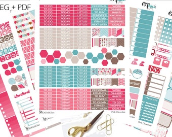 Pink Chocolate Monthly Happy Planner Kit// Printable Planner Stickers