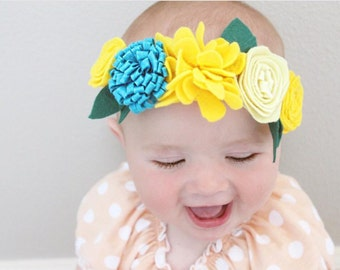 Felt Flower Crown, baby girl headband