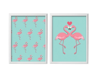 Set Of Two  Posters - Flamingo