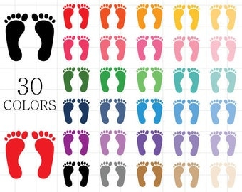 Footprints Clipart, Foot Prints Clipart, Digital Foot Prints, Footprints Digital Download, Colorful Footprints, Rainbow Footprints