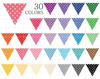 Triangle Flags Clipart, Banners Clip Art, Bunting Flags, Polka Dotted Flags Clipart, Digital Flags, Digital Bunting Banner Flags