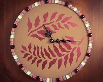 Fern & Mosaic Tiles Wall Clock