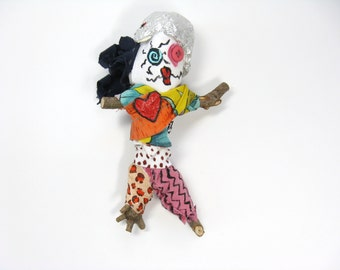 Tin Foil Hat Doll made from Found Materials, Novelty Gift, Outsider Art Figure, Voodoo or Pin Doll, Poppet
