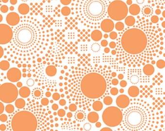 "Riley Blake   ""Hipsters""  Pop Orange   Fabric    White on Orange"