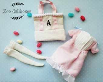 Pre-order Lovely Pinky Room Wear -3psc set for Blythe/Licca 1/6 Doll