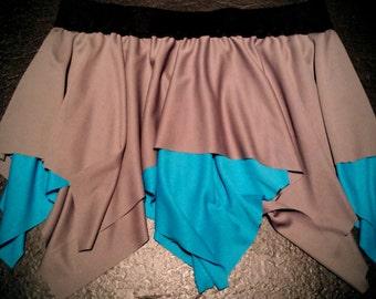 Gray/Aqua Layered Skirt (Pixie, Festival, Square)