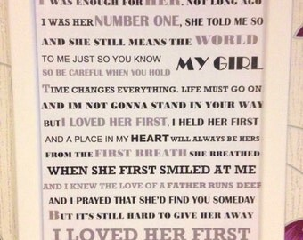 Father & Daughter Heartland I Loved Her First Song Lyric Frame perfect gift for Fathers Day or Wedding gift