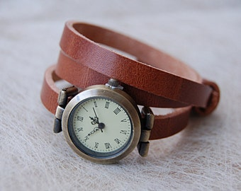 Watch leather cognac brown