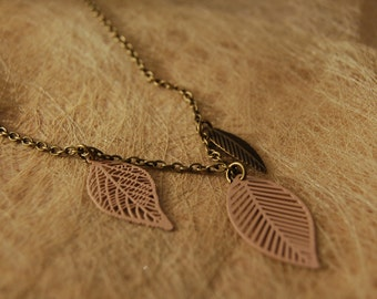 Necklace violet leaves