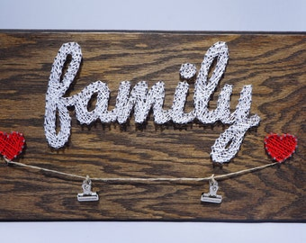 Family String Art Wall Decoration with Picture Clips