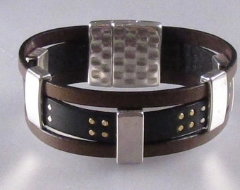 Multi Color Studded Leather Cuff