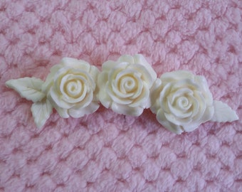 Triple rose embellishment/resin applique/