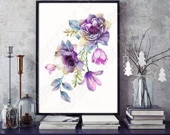 Watercolor Flower Art Print - Giclee Wall Decor Home Decor Housewarming Gift - Floral Art Print #2