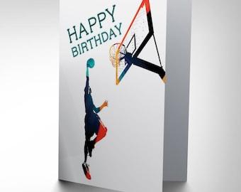 Basketball Card / Birthday Card / Teen Card / Boys Birthday Card / Sports Birthday Card / Slam Dunk Cp1118