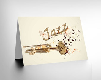 Card Greeting Jazz Theme Trumpet Typograph Music Gift CL1704