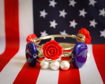 RED WHITE BLUE bangles, wire bangles, 4th of July, stacked bangles