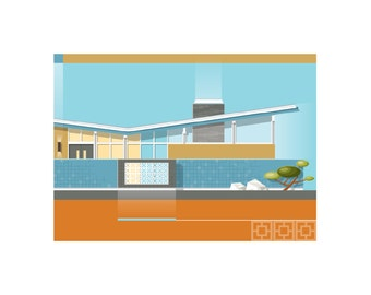 Mid-Century Modern Home Portrait - The Blue Block Butterfly - 2 sizes available