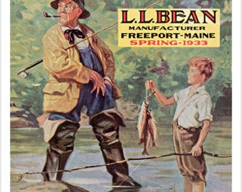 LL Bean Spring 1933 Original Cover Vintage Poster 24x36 Family Fishing New
