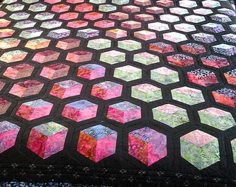 Tumbling Block Quilt, Tumbling Box Quilt, Made to Order, Custom Quilts, Batik Quilts, Custom Bedding, Modern Patchwork Quilt, 3D Quilt,