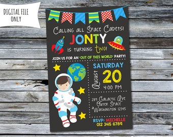 Space Invitation / Outer Space Birthday Invitation (Personalized) Digital Printable File