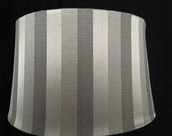 """Large round drum shade metallic stripes 20"""""""