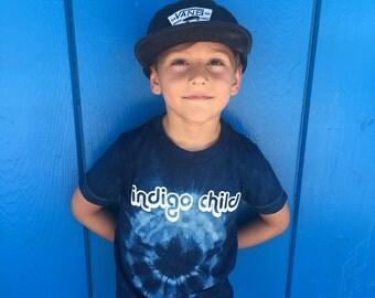 Indigo Child on hand-dyed indigo tee