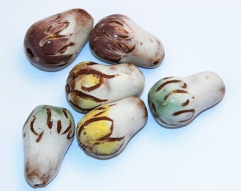 Set of 6 white drop beads with yellow green purple petals handmade ceramic