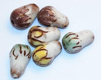 Set of 6 white drop beads with yellow green purple petals handmade ceramic