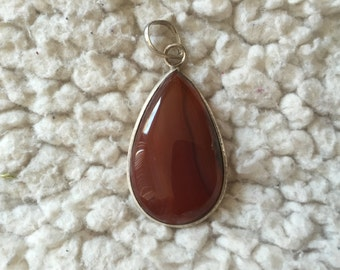 Red Agate Pendant with Bail, Red, Orange Agate