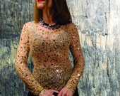 Sequin Embroidered High Fashion Chic Extremely Elegant Shirt / Glamour Party Clothing / Wedding Guest Clothing