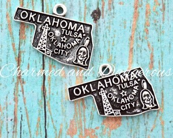 5 pewter Oklahoma charms (CM252)