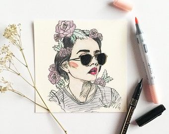 Sun & Roses; Portrait; Fashion Illustration; Art Print